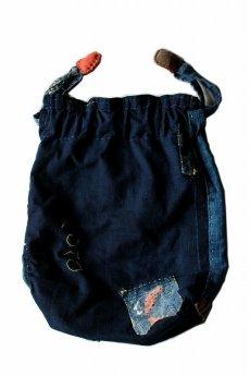 画像2: 【桃雪】藍染刺し子古布 へんちくりん巾着バッグ (2)
