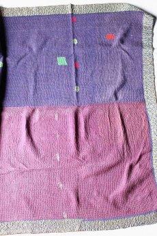 画像4: 【インド・パキスタン】ラリーキルト(チェック×水色×紫) (4)