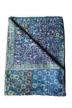 画像1: 【インド・パキスタン】ラリーキルト(藍染 花柄) (1)