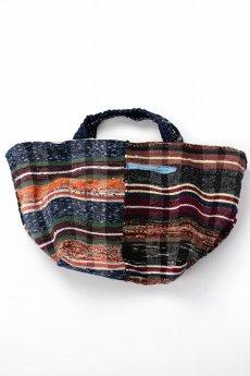 画像2: 【桃雪】裂き織り古布 リバーシブル おおらかバッグ (2)