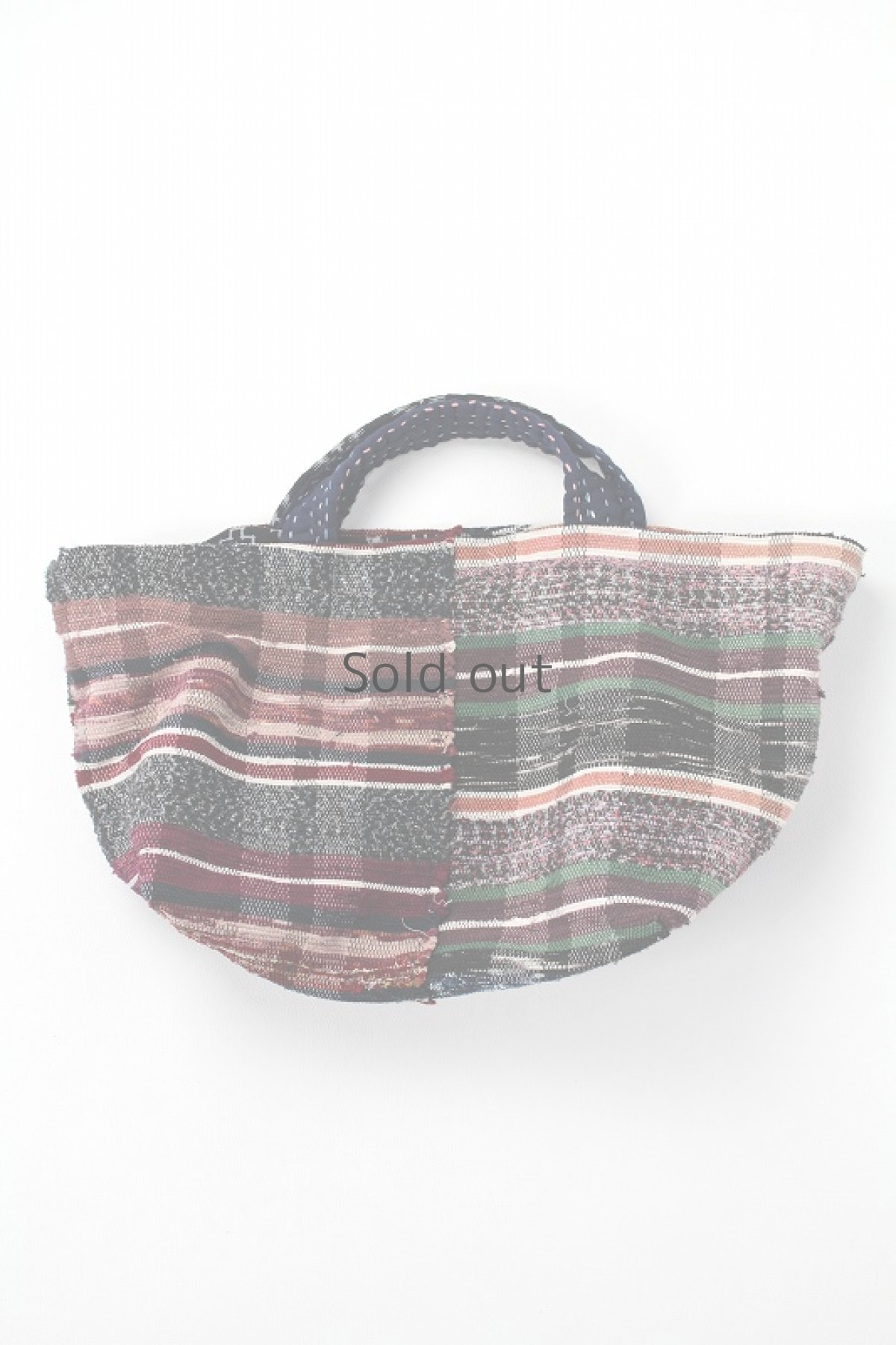 画像1: 【桃雪】裂き織り古布 リバーシブル おおらかバッグ (1)