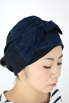 画像9: 【ササキチホ】藍染古布 ターバンヘアバン(濃藍と藍/2トーン/白刺し子) (9)