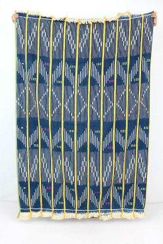 画像3: 【コートジボワール】手織り藍染めストライプ模様の綿(バウレ族/藍と黄) (3)