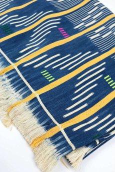 画像1: 【コートジボワール】手織り藍染めストライプ模様の綿(バウレ族/藍と黄) (1)