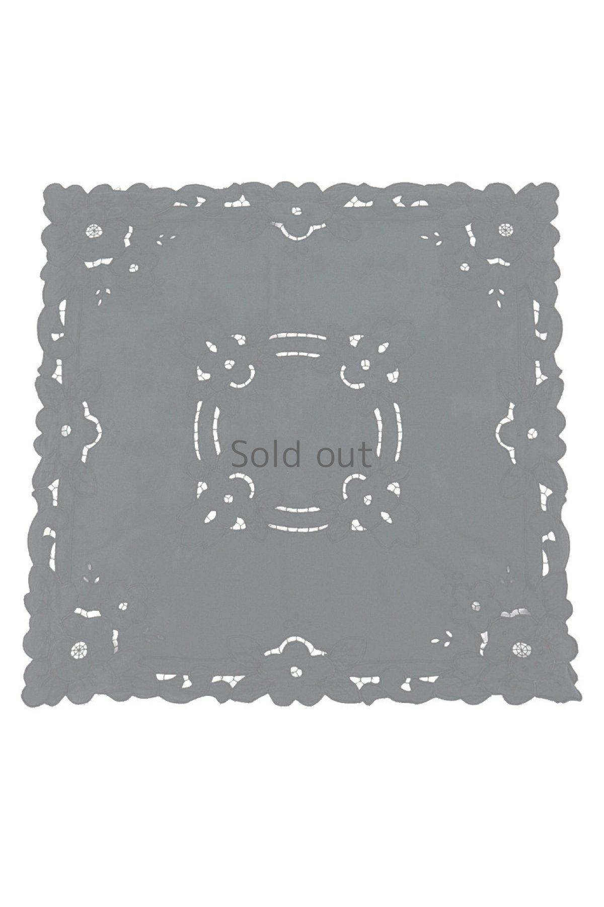 画像1: 【フランス】アンティークレース×染 カットワーク刺繍 敷物 (1)