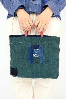 画像3: 【桃雪】藍染古布 ほっそい取っ手のやや小さめバック(リバーシブル) (3)