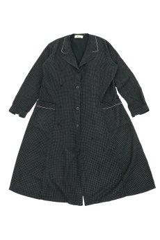 画像1: 【フランス】1950年代頃のブラックドット柄ワークドレス(黒/白/ドット柄/リペアあり) (1)