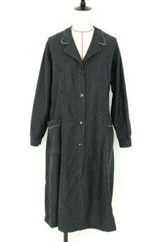画像2: 【フランス】1950年代頃のブラックドット柄ワークドレス(黒/白/ドット柄/リペアあり) (2)