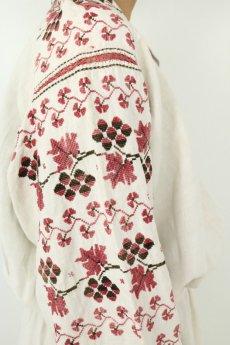画像11: 【ウクライナ】ウクライナリネン刺繍ワンピース(ウエストゴム/赤のクロスステッチ) (11)