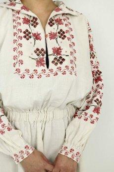 画像5: 【ウクライナ】ウクライナリネン刺繍ワンピース(ウエストゴム/赤のクロスステッチ) (5)