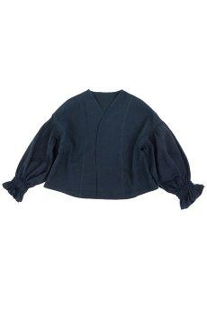 画像1: 【ササキチホ】アンティークリネン×染め ピエロ袖 前開きブラウス(紺色) (1)