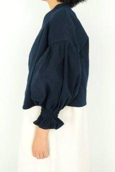 画像3: 【ササキチホ】アンティークリネン×染め ピエロ袖 前開きブラウス(紺色) (3)