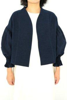 画像2: 【ササキチホ】アンティークリネン×染め ピエロ袖 前開きブラウス(紺色) (2)