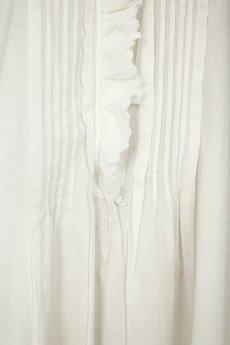 画像7: 【フランス】アンティークコットン フリルレース 長袖ロングワンピース(白/リペアあり) (7)