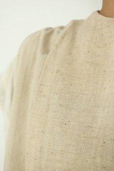 画像6: 【ササキチホ】アンティークリネン×古布 カタヒダ 四角ワンピース(生成り) (6)