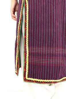 画像13: 【ブルガリア】アンティーク 伝統民族衣装のコート(エンジのストライプ) (13)