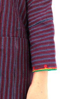 画像7: 【ブルガリア】アンティーク 伝統民族衣装のコート(エンジのストライプ) (7)