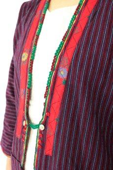 画像6: 【ブルガリア】アンティーク 伝統民族衣装のコート(エンジのストライプ) (6)