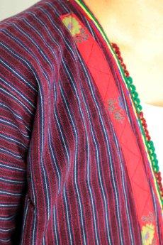画像8: 【ブルガリア】アンティーク 伝統民族衣装のコート(エンジのストライプ) (8)