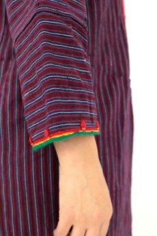 画像10: 【ブルガリア】アンティーク 伝統民族衣装のコート(エンジのストライプ) (10)