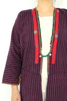 画像5: 【ブルガリア】アンティーク 伝統民族衣装のコート(エンジのストライプ) (5)