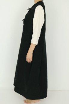 画像3: 【ササキチホ】アンティークリネン×染め モンゴリアンノースリーブワンピース(黒色) (3)