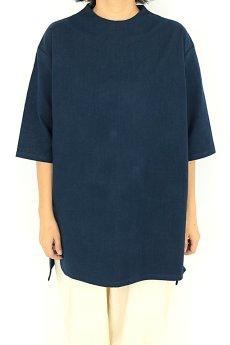 画像2: 【ササキチホ】アンティークリネン×染め ハイネック ロングシャツ(紺/五分袖) (2)