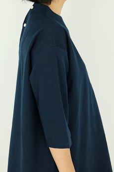 画像8: 【ササキチホ】アンティークリネン×染め ハイネック ロングシャツ(紺/五分袖) (8)