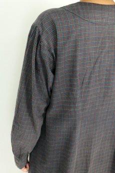 画像12: 【フランス】1950年代頃 フランネルコットン ワークドレス(くすんだチェック) (12)