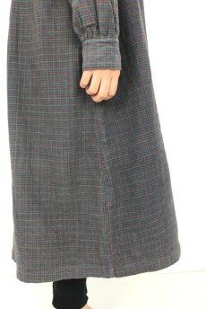 画像10: 【フランス】1950年代頃 フランネルコットン ワークドレス(くすんだチェック) (10)