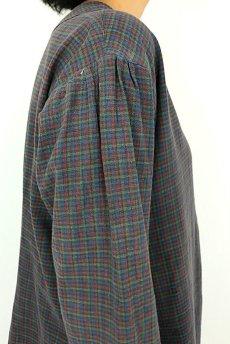 画像9: 【フランス】1950年代頃 フランネルコットン ワークドレス(くすんだチェック) (9)