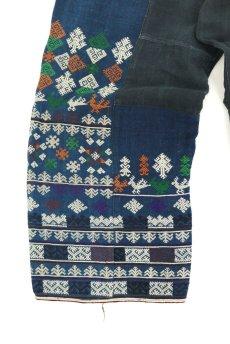 画像5: 【ベトナム】ビンテージ インディゴコットン 刺繍入りパンツ(黒ザオ族) (5)