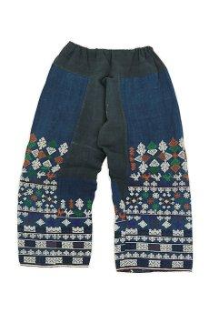 画像1: 【ベトナム】ビンテージ インディゴコットン 刺繍入りパンツ(黒ザオ族) (1)