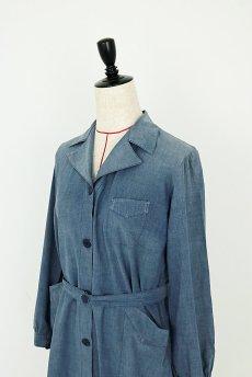 画像3: 【フランス】1950年代頃 シャンブレーコットン 農婦ドレス(ブルーグレー) (3)
