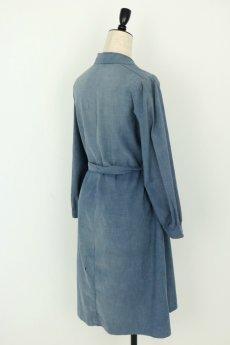 画像10: 【フランス】1950年代頃 シャンブレーコットン 農婦ドレス(ブルーグレー) (10)