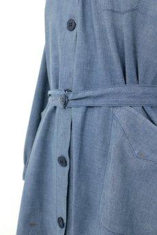 画像6: 【フランス】1950年代頃 シャンブレーコットン 農婦ドレス(ブルーグレー) (6)