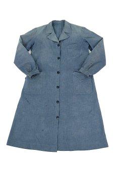 画像1: 【フランス】1950年代頃 シャンブレーコットン 農婦ドレス(ブルーグレー) (1)
