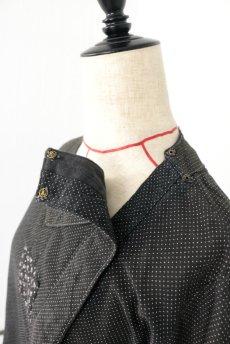 画像6: 【フランス】1940年代頃 サイドボタン ブラックワークドレス(ドット柄) (6)