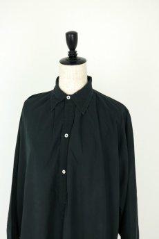 画像3: 【フランス】アンティークコットン×染め 長袖 シャツワンピース(黒) (3)