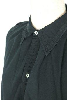 画像5: 【フランス】アンティークコットン×染め 長袖 シャツワンピース(黒) (5)