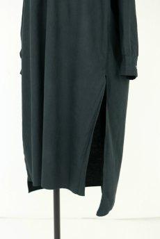 画像6: 【フランス】アンティークコットン×染め 長袖 シャツワンピース(黒) (6)