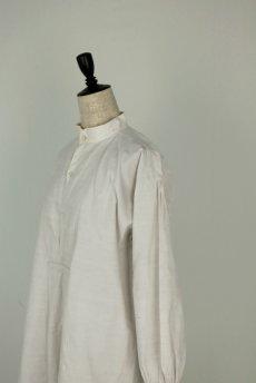 画像11: 【フランス】20世紀初頭のアンティークリネン スモックロングシャツ(白色) (11)