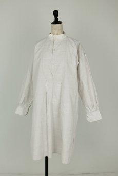 画像2: 【フランス】20世紀初頭のアンティークリネン スモックロングシャツ(白色) (2)