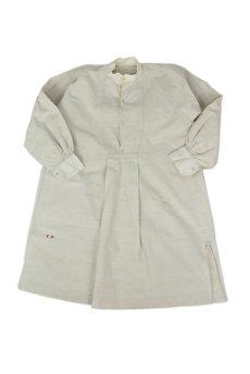 画像1: 【フランス】20世紀初頭のアンティークリネン スモックロングシャツ(白色) (1)