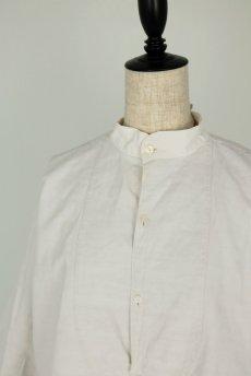 画像3: 【フランス】20世紀初頭のアンティークリネン スモックロングシャツ(白色) (3)