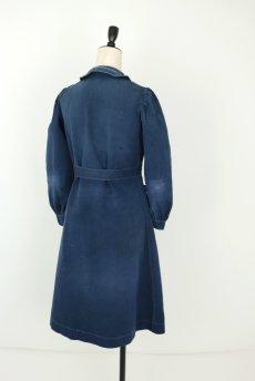 画像14: 【フランス】20世紀初頭 インディゴコットンのスクールコートドレス(学校の制服) (14)