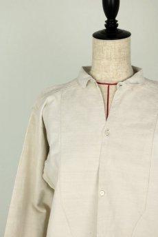 画像14: 【フランス】20世紀初頭のアンティークリネン スモックロングシャツ(白色) (14)