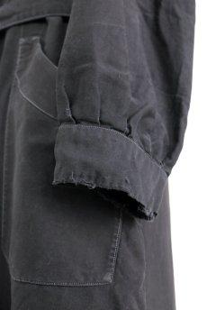 画像8: 【フランス】1940年代頃 後ろボタン ブラックワークドレス(割烹着スタイル) (8)