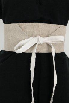 画像4: 【ササキチホ】手織りアンティークリネン ウエストマーク 帯ベルト(生成り) (4)