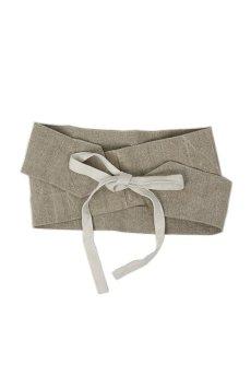 画像1: 【ササキチホ】手織りアンティークリネン ウエストマーク 帯ベルト(生成り) (1)